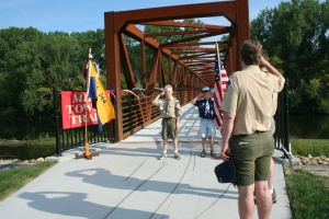 Cub scouts at the dedication of the MTT Cannon River Crossing
